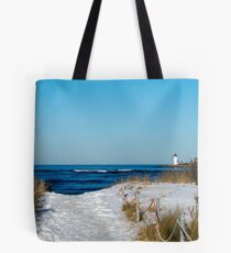 Snowy Path to the Beach Tote Bag