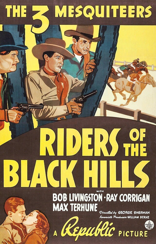 Vintage Hollywood Nostalgia The Three Mesquiteers Riders of the Black Hills Film Movie Advertisement Poster by jnniepce
