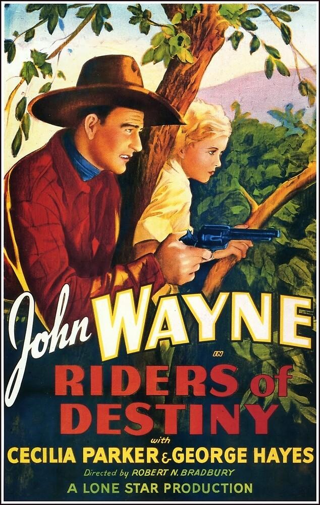 Vintage Hollywood Nostalgia Riders of Destiny John Wayne Film Movie Advertisement Poster by jnniepce