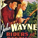 Vintage Hollywood Nostalgia Riders of Destiny John Wayne Film Movie Advertisement Poster by jnniepce