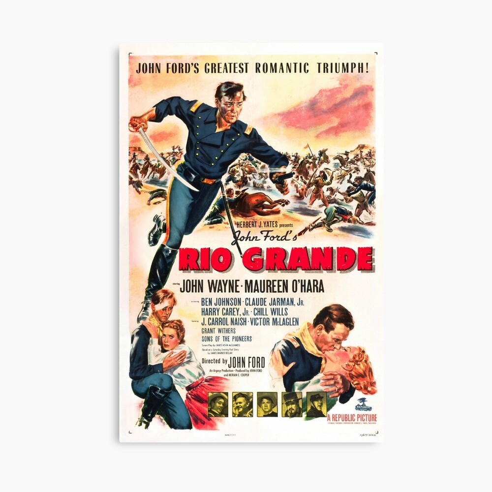 Vintage Hollywood Nostalgia Rio Grande John Wayne Film Movie Advertisement Poster Canvas Print