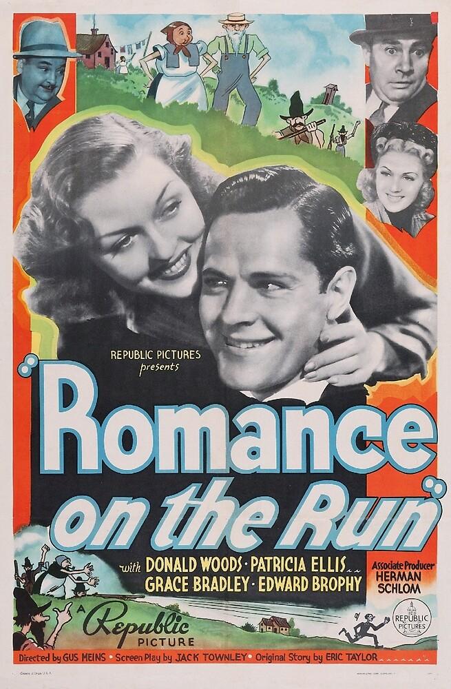 Vintage Hollywood Nostalgia Romance on the Run Film Movie Advertisement Poster by jnniepce