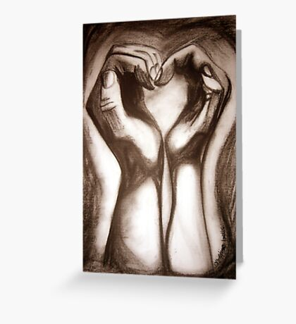 Two Hands One Heart - sepia Greeting Card