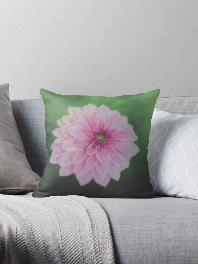 Pink Dahlia On Soft Green by hurmerinta