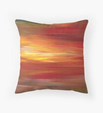 COLOR INTOXICATION 1 Colorcul Bold Deep Garnet Crimson Red Yellow Black Sunrise Sunset Ombre Abstract Acrylic Painting Throw Pillow