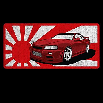 Japan JDM Drift Drifting Nissan GT- R Car Gift Rising Sun Flag by maindeals