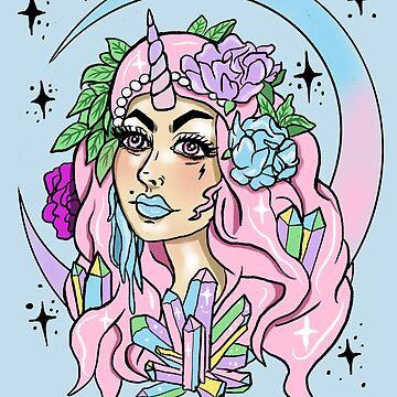 Einhorn-Mädchen-Pastell Goth Crystal Cluster Moon Maiden von lunaelizabeth