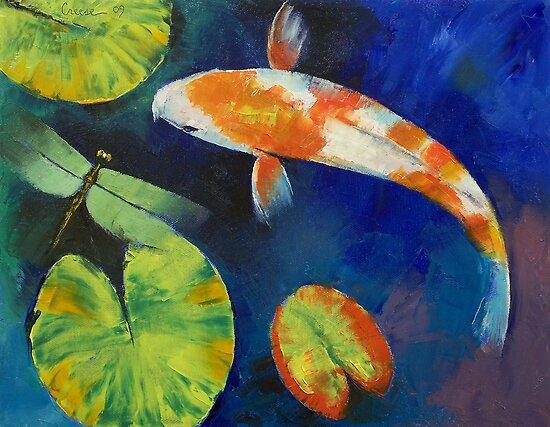 Kohaku Koi and Dragonfly by Michael Creese