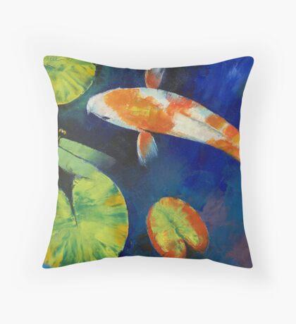 Kohaku Koi and Dragonfly Throw Pillow