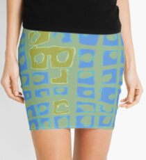 Modern Blue and Green Square Print Mini Skirt