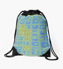 Modern Blue and Green Square Print Drawstring Bag
