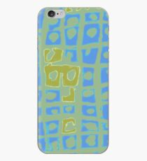 Modern Blue and Green Square Print iPhone Case