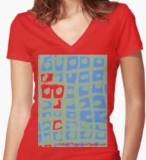 Modern Blue and Green Square Print Women's Fitted V-Neck T-Shirt
