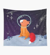 Space Foxes - Fox In Moon Wall Tapestry