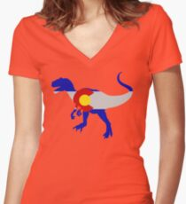 Colorado Allosaurus  Women's Fitted V-Neck T-Shirt