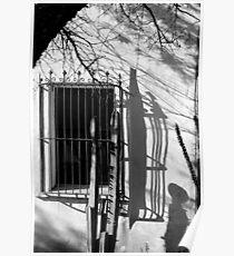 San Xavier Window and Shadows 1 BW Poster