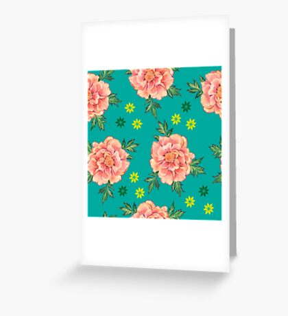 - Peony turquoise pattern - Greeting Card