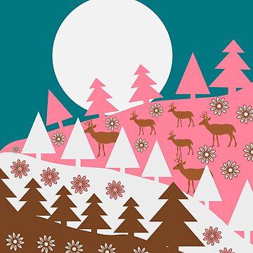 Floral deer hills by cocodes