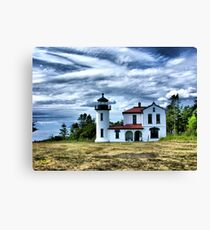Lighthouse Under the Clouds Canvas Print