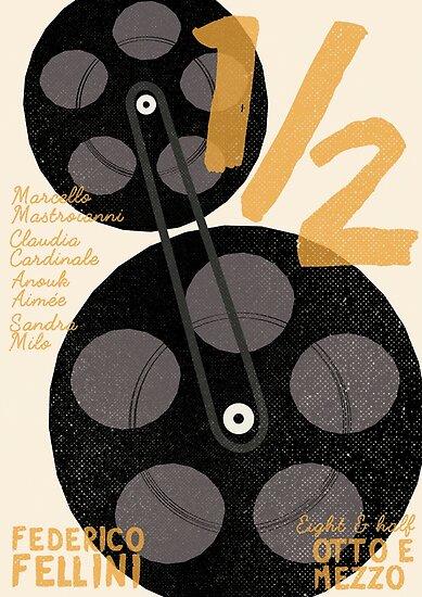 Federico Fellini, 8 e 1/2 (eight and half) italian movie poster, 8 1 ...