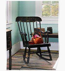 Basket on Yarn on Rocking Chair Poster