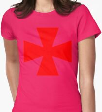 Red Medieval Crusader Cross, Symbol Womens Fitted T-Shirt