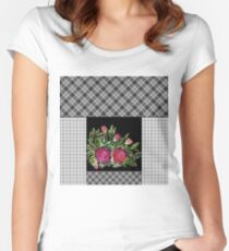 Rustic patchwork Women's Fitted Scoop T-Shirt