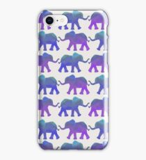 Follow The Leader - Painted Elephants in Purple, Royal Blue, & Mint iPhone Case/Skin
