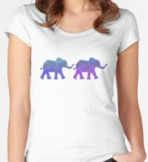 Follow The Leader - Painted Elephants in Purple, Royal Blue, & Mint Women's Fitted Scoop T-Shirt