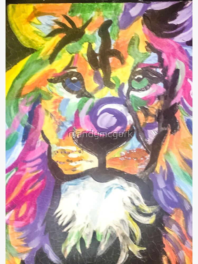 Braveheart Multi Coloured Acrylic Painting Of Lion Abstract Art Spiral Notebook