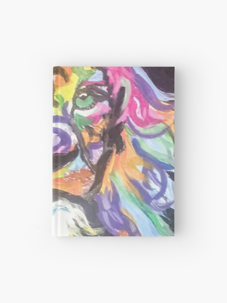 Braveheart Multi Coloured Acrylic Painting Of Lion Abstract Art Hardcover Journal