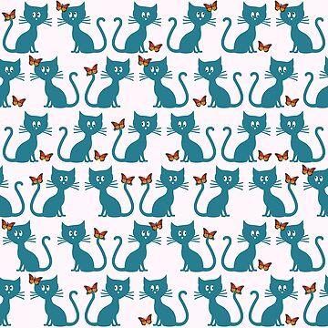 Kittens and butterflies by gavila