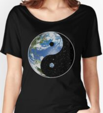 Earth and Space Yin Yang Symbol Women's Relaxed Fit T-Shirt