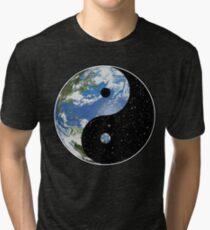 Earth and Space Yin Yang Symbol Tri-blend T-Shirt