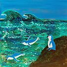 Blue Fairy Penguins Jumping  by BlossomRevival