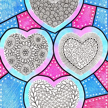 Colored Pencil Doodle Art | Doodle Hearts by coloringiship