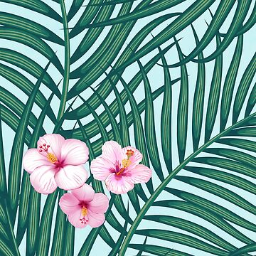 Palm leaves and flowers by CatyArte