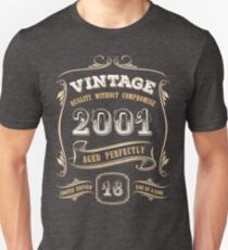 18th Birthday Gift Gold Vintage 2001 Aged Perfectly Slim Fit T-Shirt