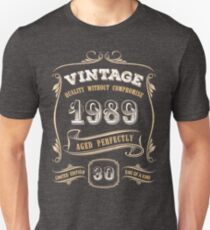 30th Birthday Gift Gold Vintage 1989 Aged Perfectly Slim Fit T-Shirt