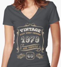 40th Birthday Gift Gold Vintage 1979 Aged Perfectly Women's Fitted V-Neck T-Shirt