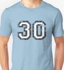 Number 30 Vintage 30th Birthday Anniversary Unisex T-Shirt