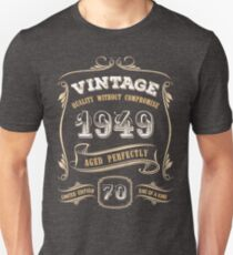 70th Birthday Gift Gold Vintage 1949 Aged Perfectly Slim Fit T-Shirt
