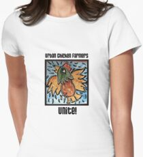 Urban Chicken Farmers Unite! Women's Fitted T-Shirt