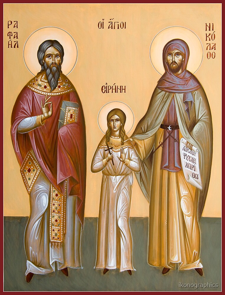 Sts Raphael, Nicholas and Irene by ikonographics
