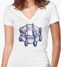 Benzene Molecule Pattern Organic Chemistry Women's Fitted V-Neck T-Shirt