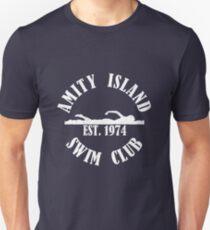 Amity Island Schwimmverein Weiß Slim Fit T-Shirt