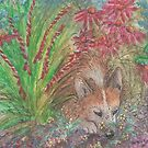 Corgi dog in the flower bed by SusanAlisonArt