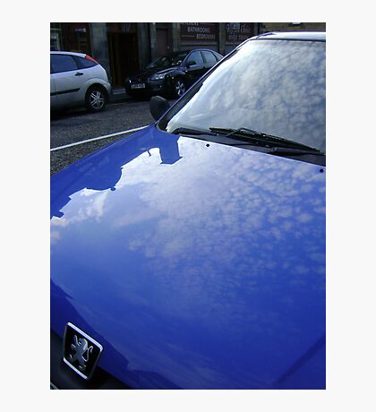 sky blue car Photographic Print