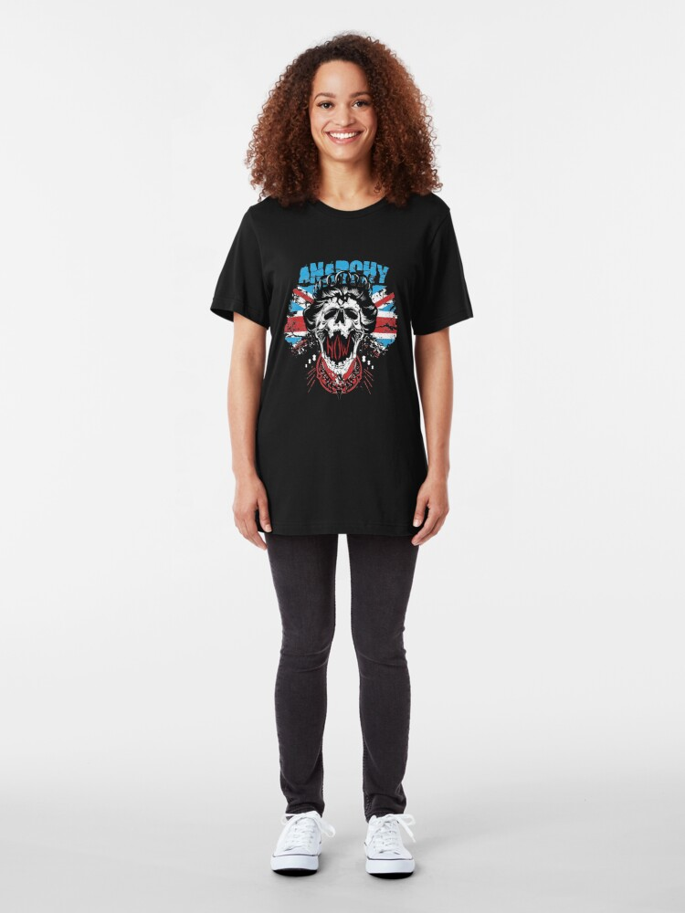 Alternate view of Union Jack Flag Anarchy In The UK Queen Skull United Kingdom Retro Pride  Slim Fit T-Shirt