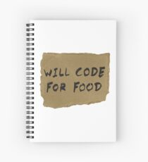 Will Code For Food Spiral Notebook